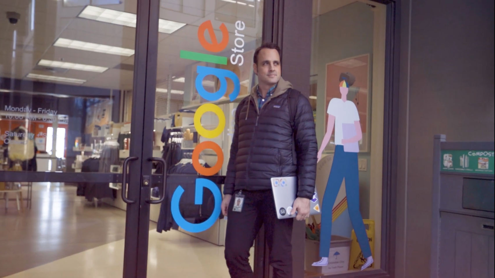 Chris standing in front of the Google Storefront