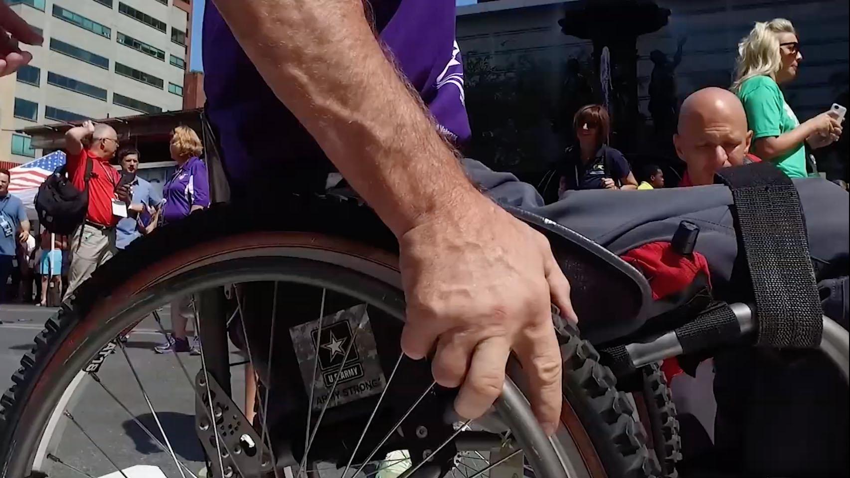Someone maneuvering their wheelchair