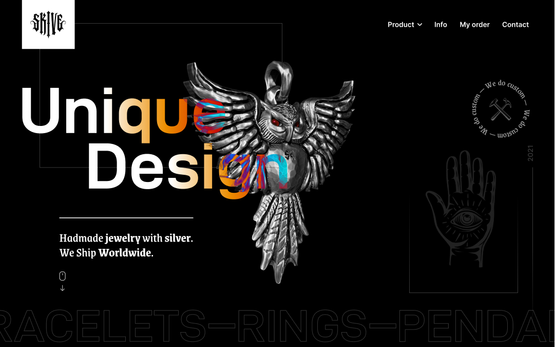 """Site shop of silver jewelry with the title """"Unique design"""" and a pendant owl"""