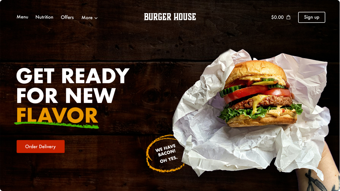 """Hamburger delivery site with the title """"Get ready for a new flavor"""" and a photo holding a hamburger"""
