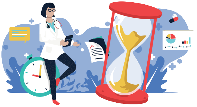 A doctor sitting by an hourglass and a watch