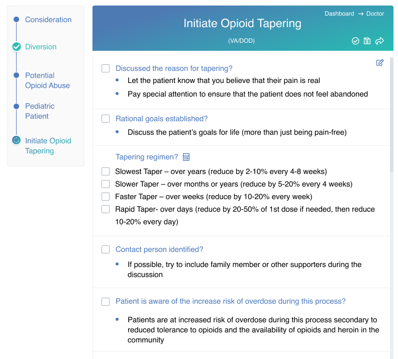Opioid tapering checklist example