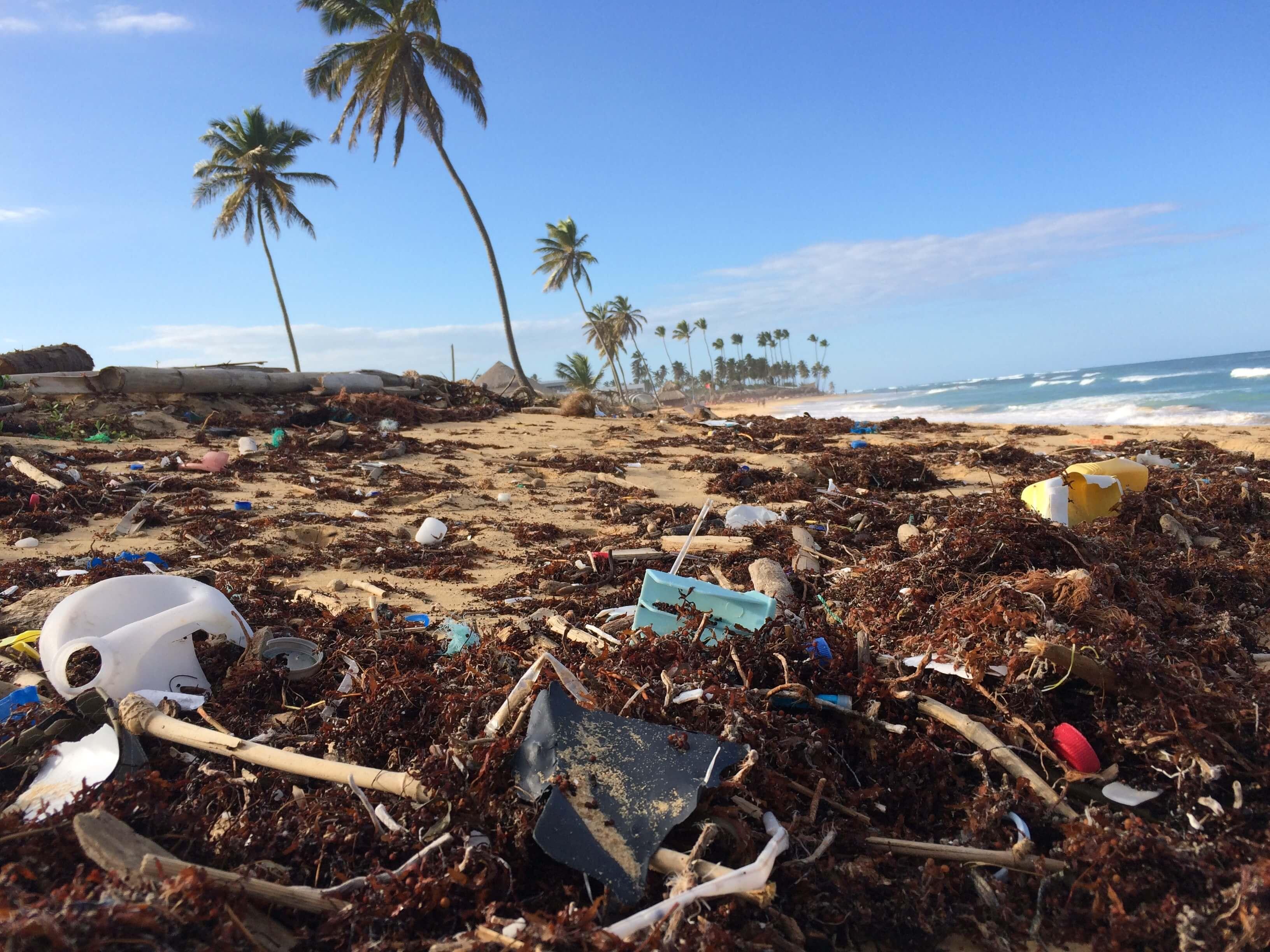 Plastic trash at the beach