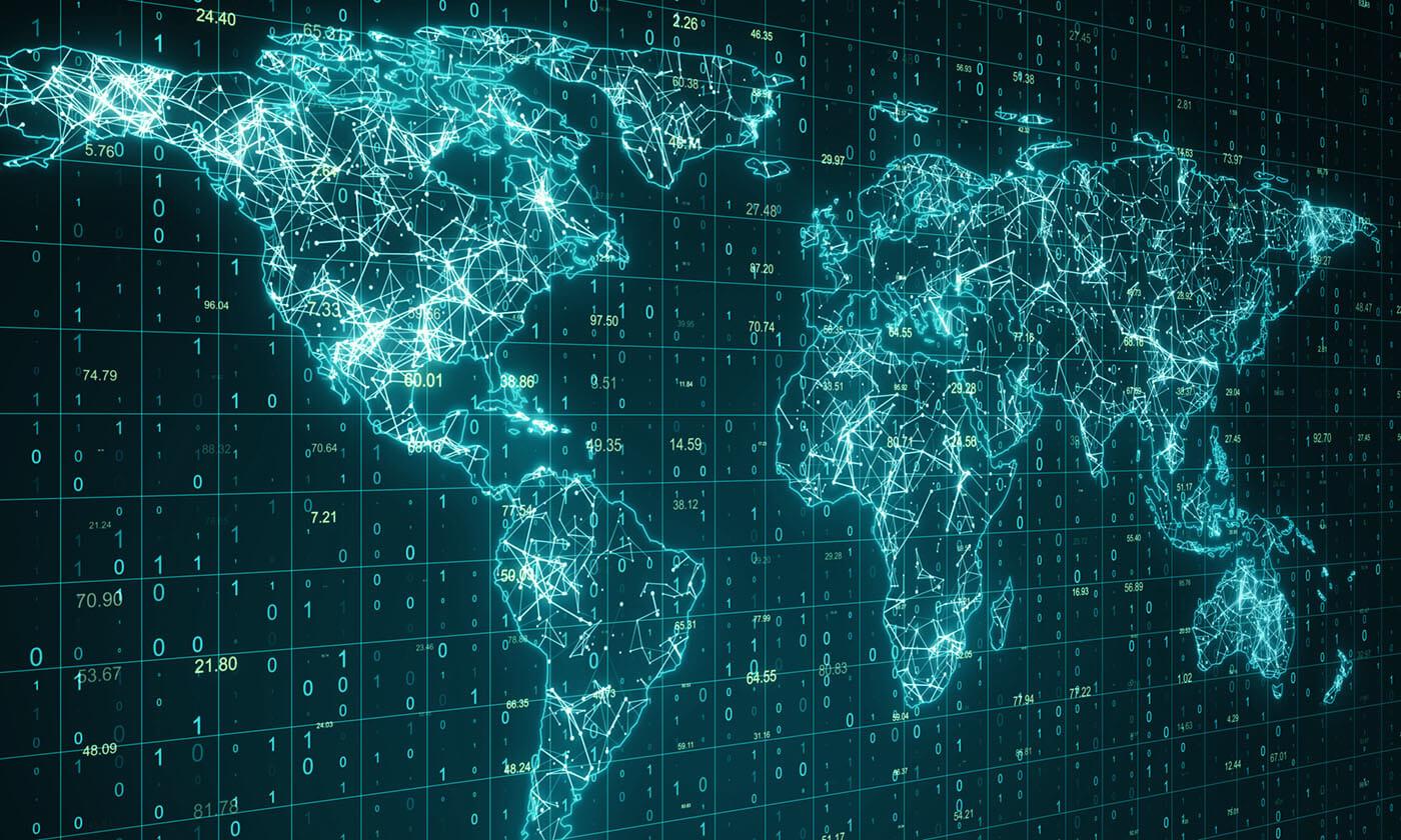 A map showing financial data.