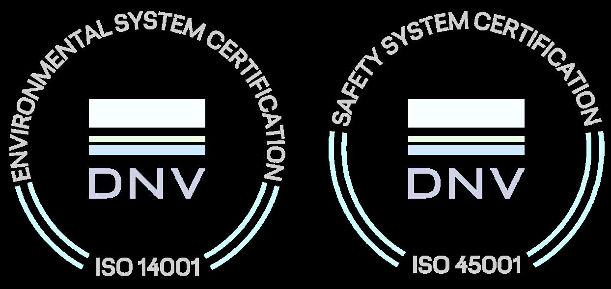 Certification logos from DNV