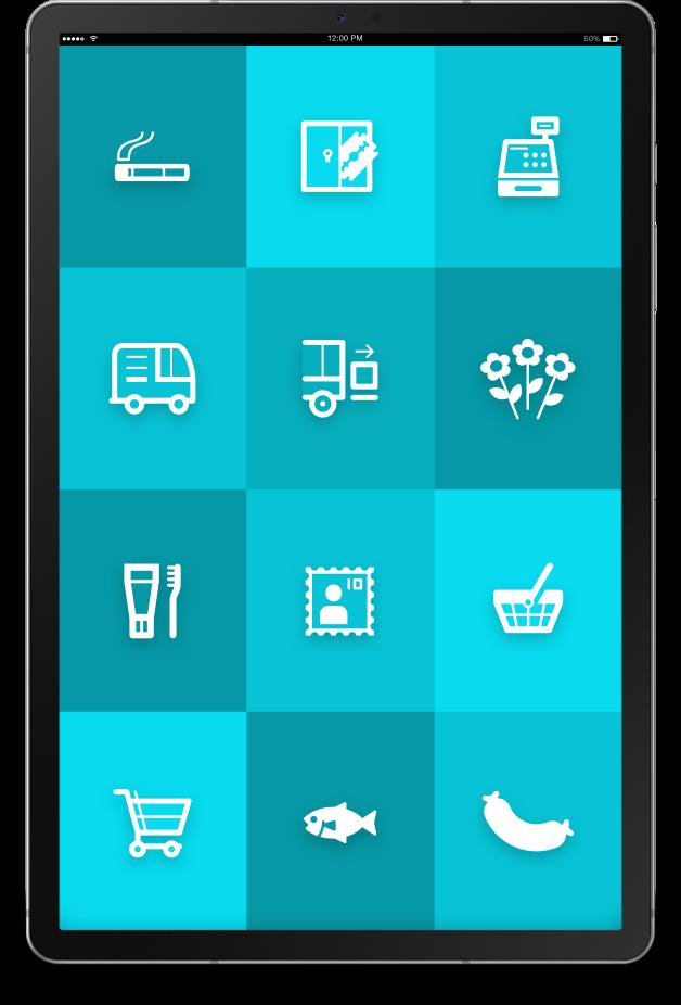 """Tablet mit ReAct """"Call to action"""" App für den Einzelhandel."""