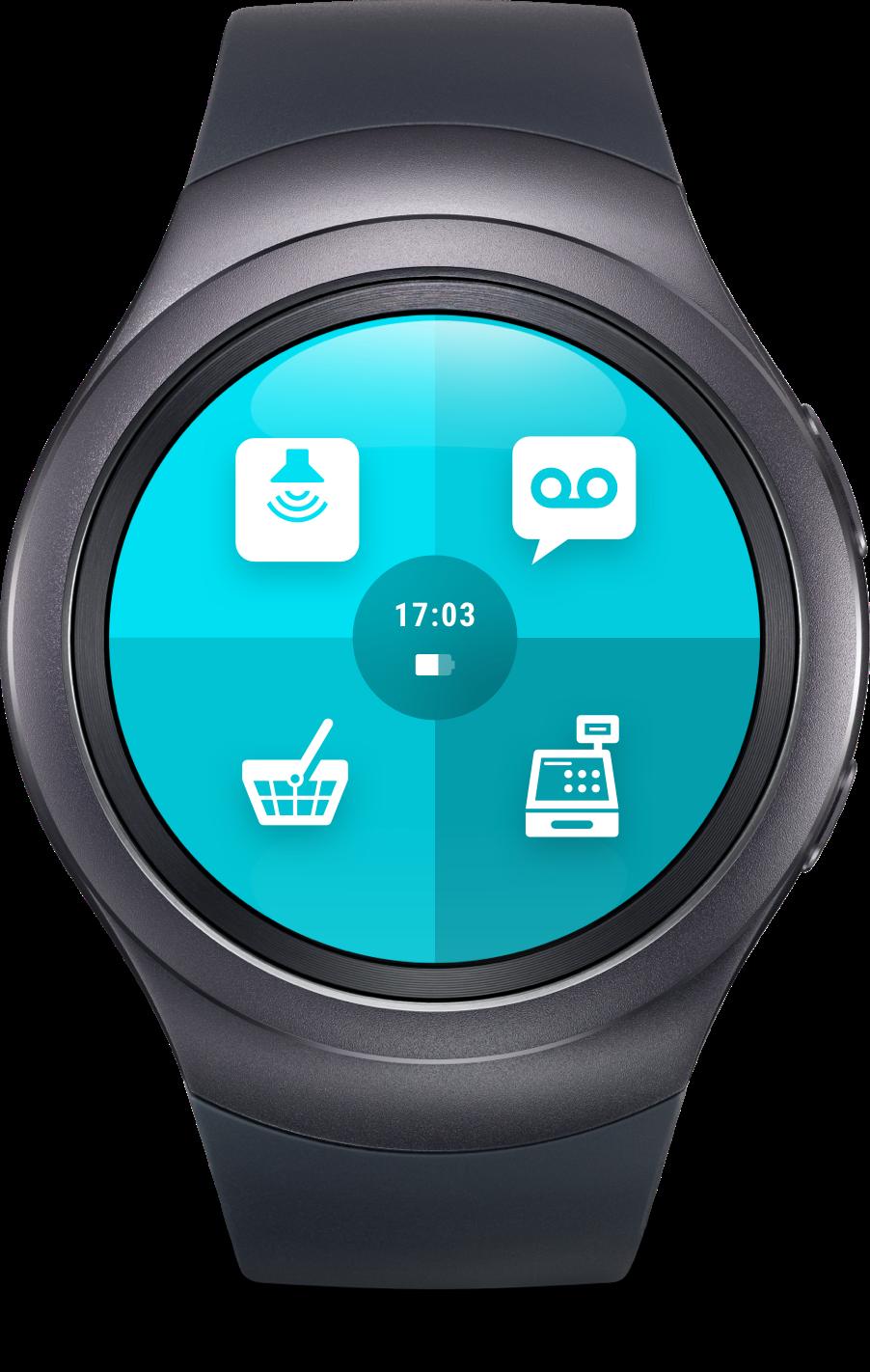 """Smartwatch mit ReAct """"Call to action"""" App für den Einzelhandel."""