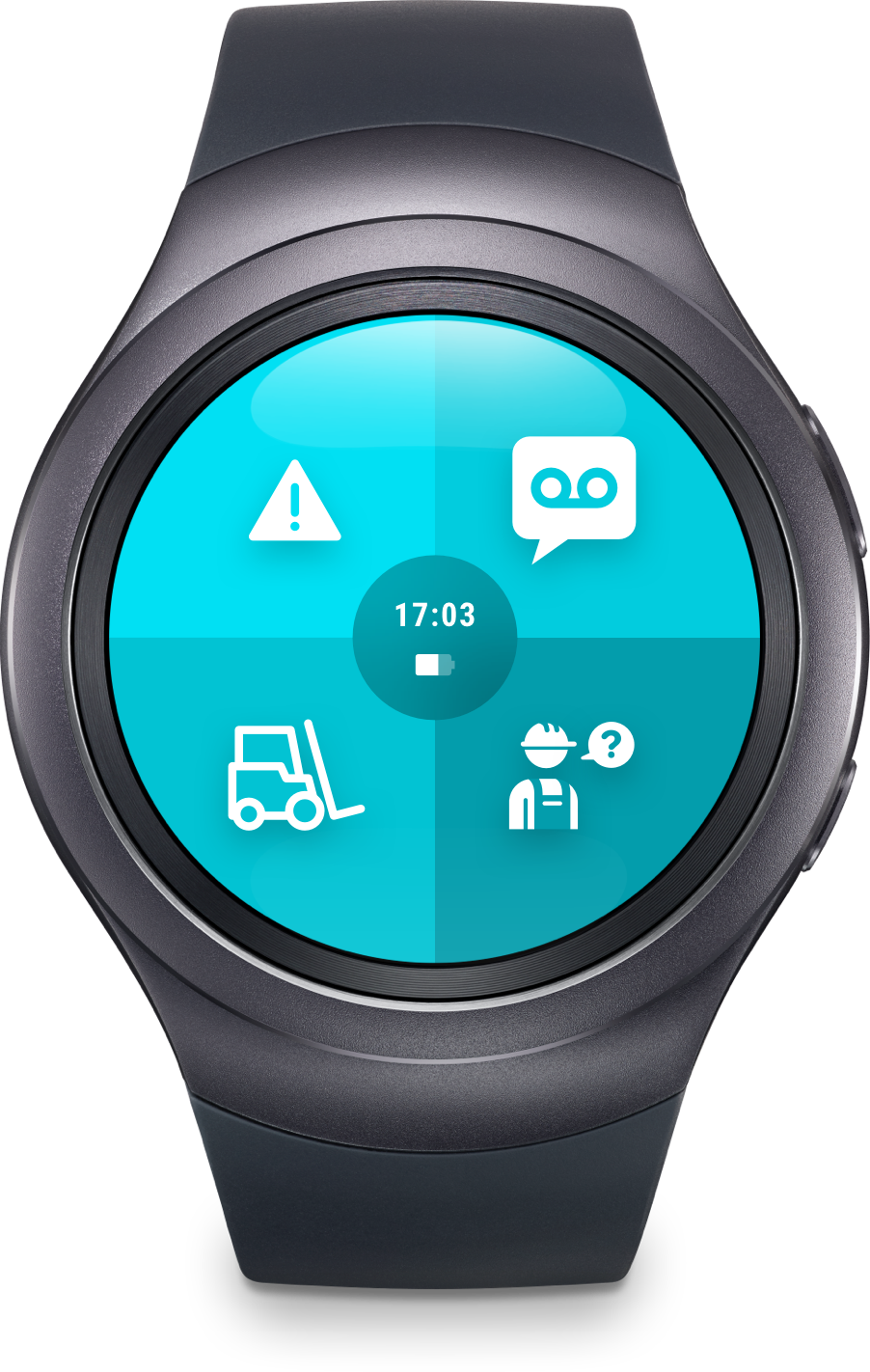 """Smartwatch with ReAct """"call to action"""" app for industrial use."""