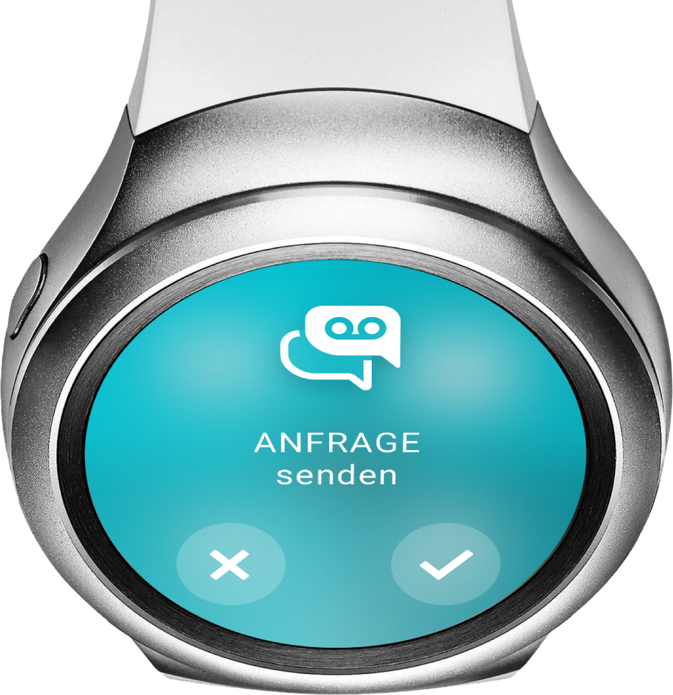 """Smartwatch """"Anfrage senden"""" - ReAct """"Call to Action"""" App"""
