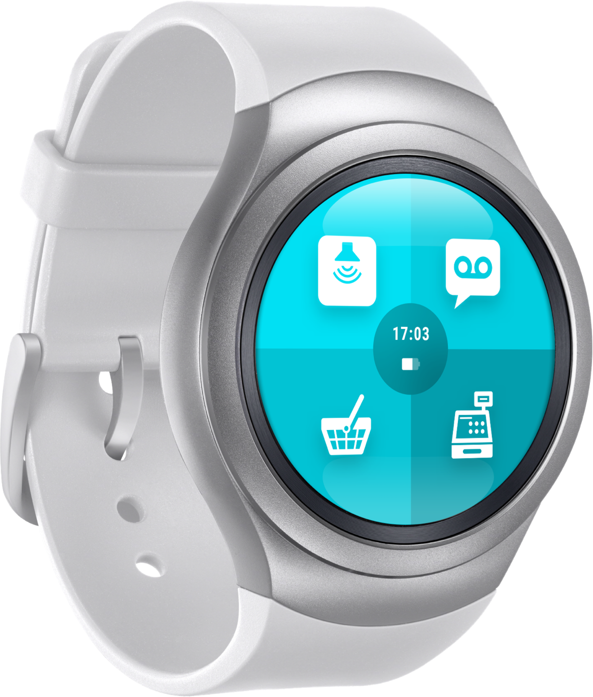 """Smartwatch with ReAct """"call to action"""" app for retail."""