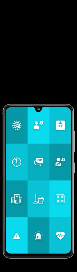 """Smartphone mit ReAct """"Call to action"""" App für das Gesundheitswesen"""