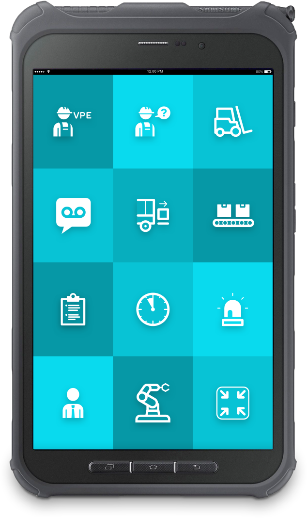 """Rugged tablet with ReAct """"call to action"""" app for industrial use."""
