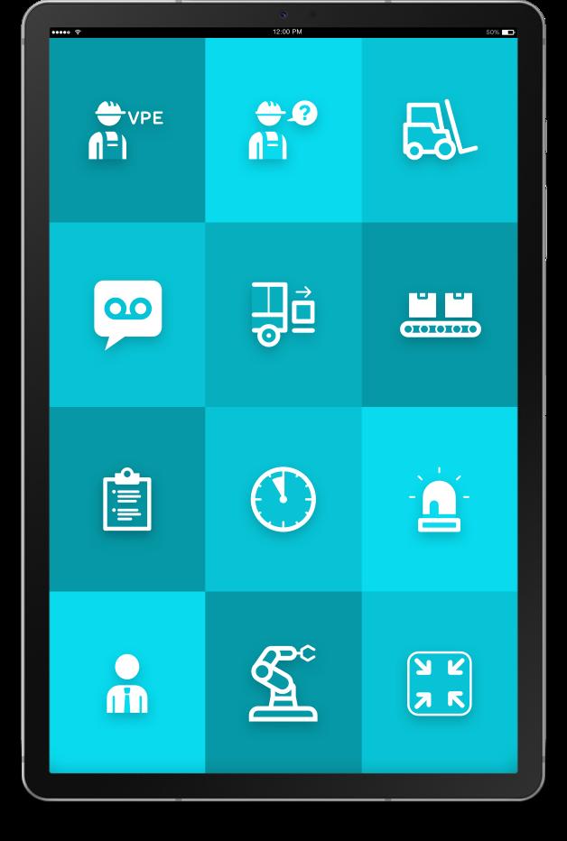 """Tablet mit ReAct """"Call to action"""" App für den industriellen Einsatz."""