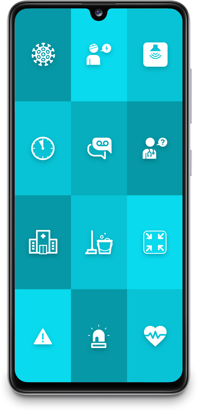 """Smartphone with ReAct """"call to action"""" healthcare app"""