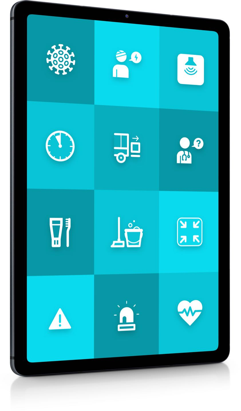 """Tablet with ReAct """"call to action"""" app for healthcare"""
