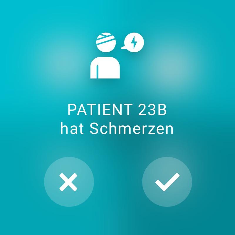 Patient hat Schmerzen - ReAct Watch User Interface Healthcare