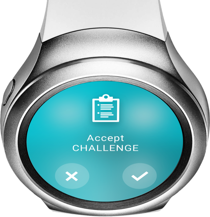 """Smartwatch """"Accept Challenge"""" - ReAct """"Call to Action"""" App"""