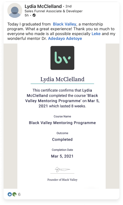 A Black Valley mentee showing their VerifyEd credential on LinkedIn.