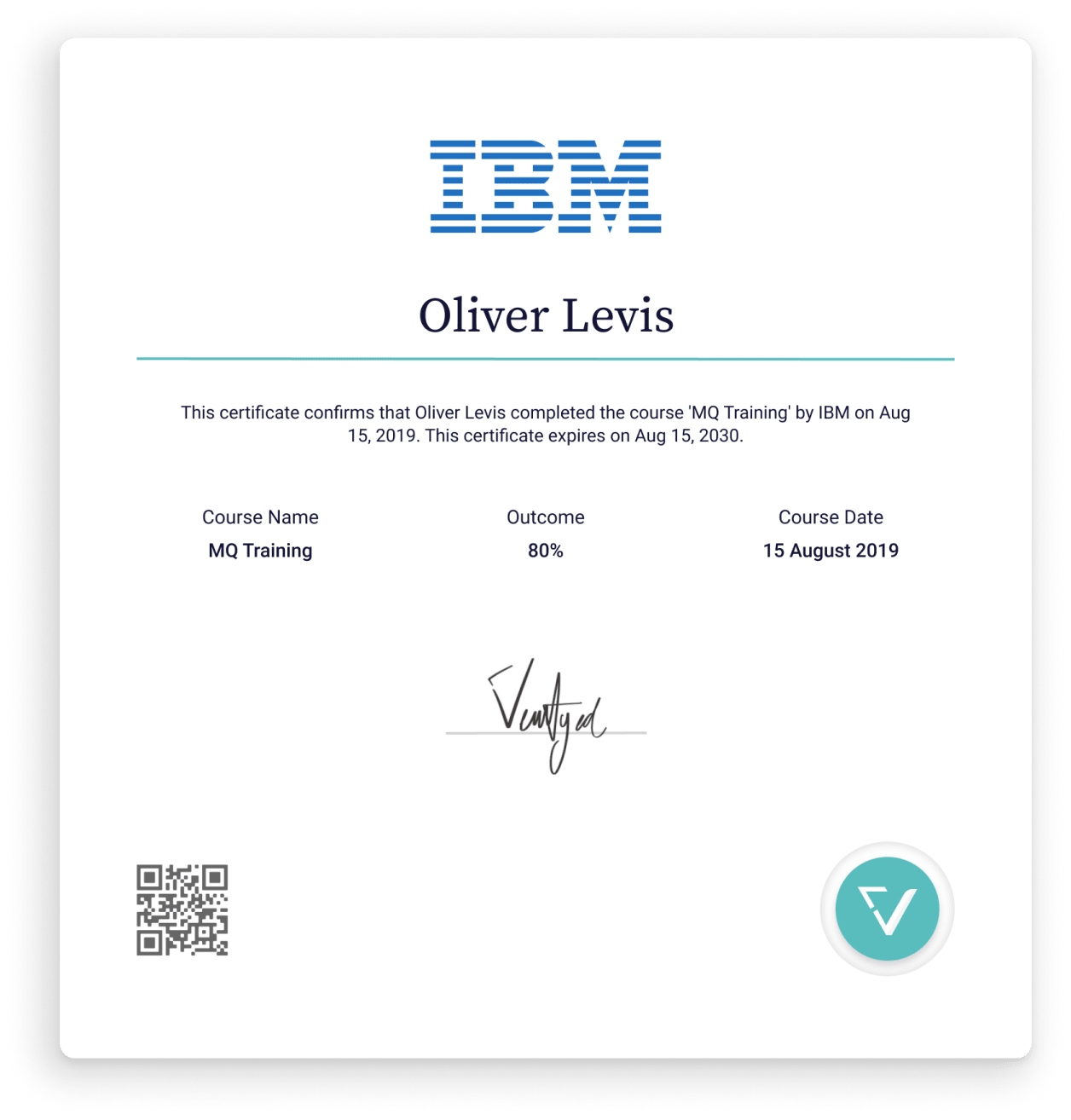 Certificate from IBM.