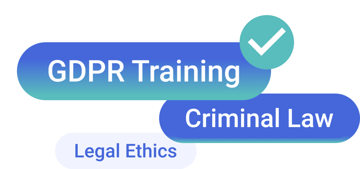 Verified skills showing GDPR training, criminal law and legal ethics.