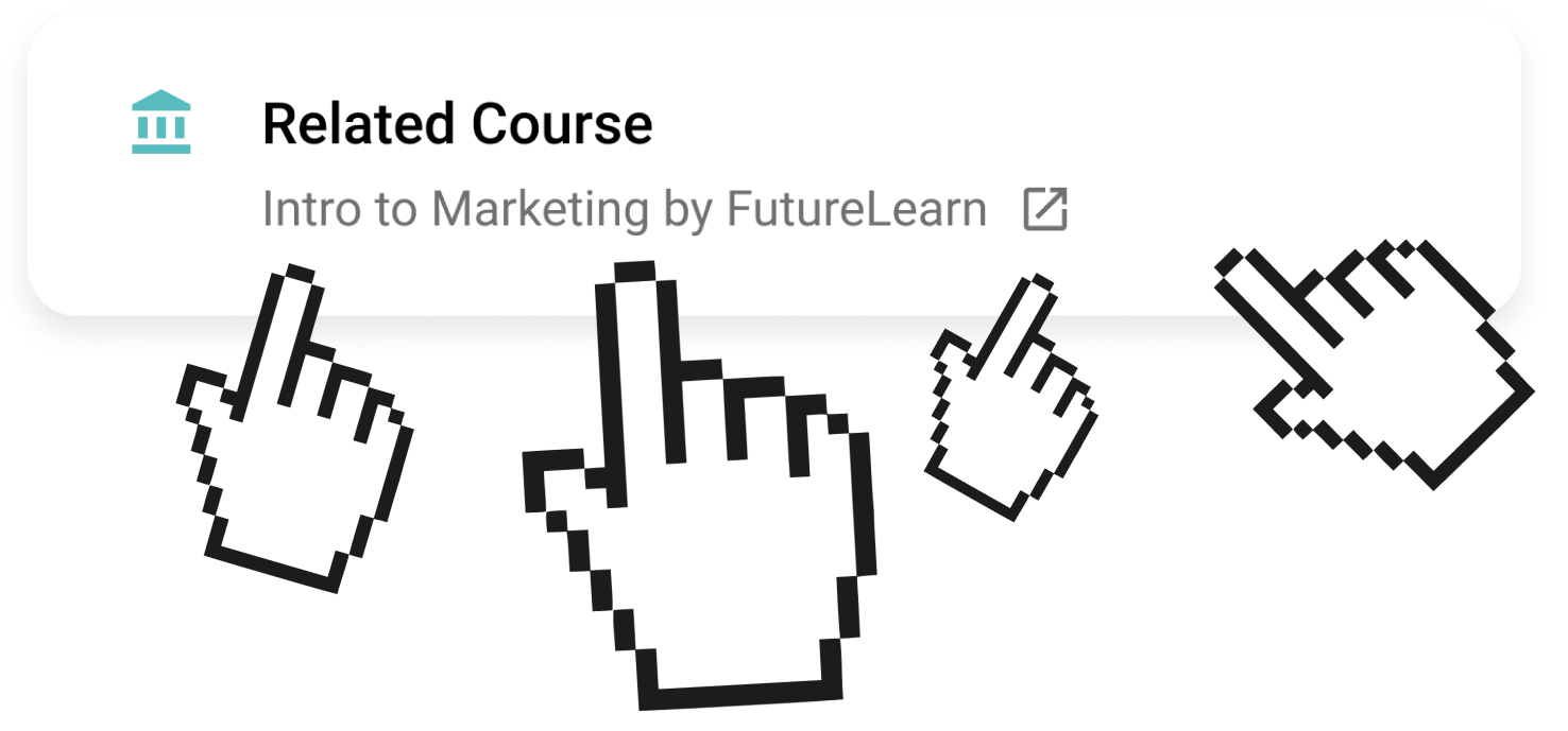 A link to a related course being clicked by multiple cursors.