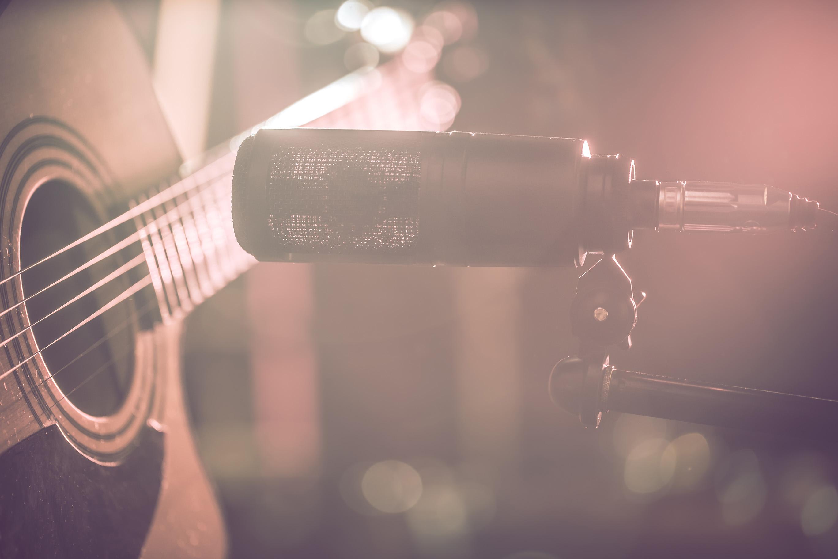 Guitar in Recording Studio