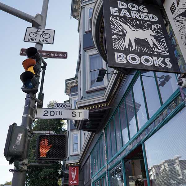 Looking up at a streetlight, bike lane sign, and Dog Eared Books storefront