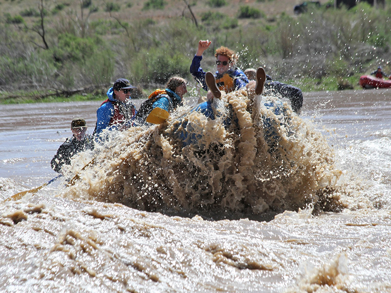 group of people in a raft hitting a large wave