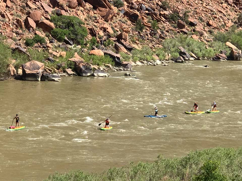 zoomed out view of people paddling through a small rapid