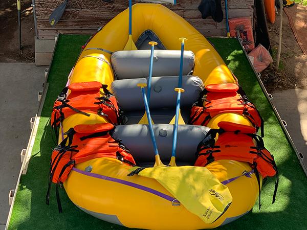 raft sitting on a trailer