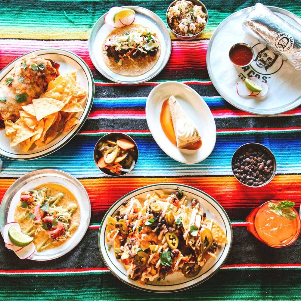 Trejo's Tacos spread with a variety of menu items from the Mexican-inspired restaurant