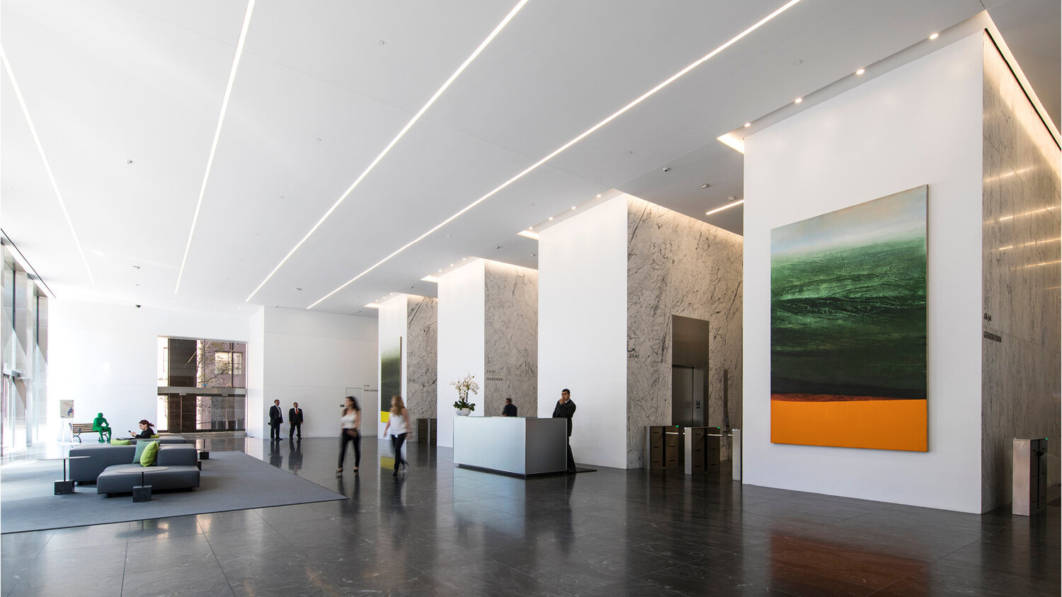 Two paintings of the Sierras series by Antonio Murado in Wells Fargo Center North Tower Lobby