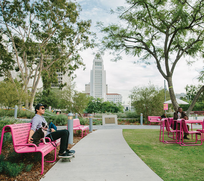 Grand Park and City Hall in Downtown Los Angeles
