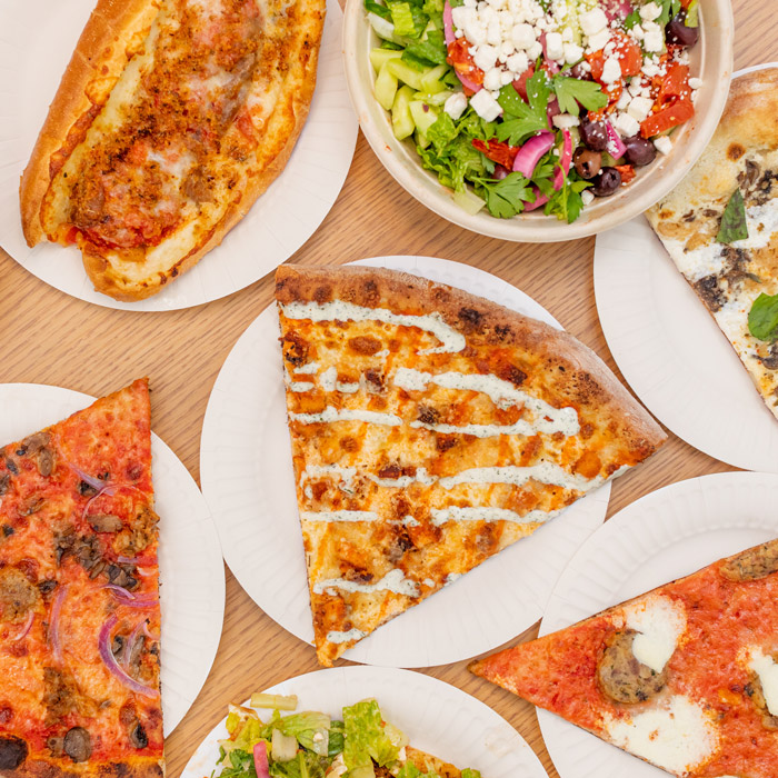 Pizzas, hot hero sandwiches, and salads