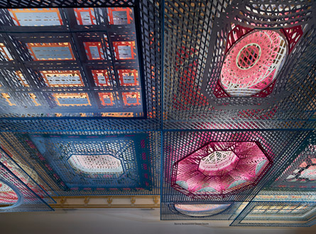 Suspended visual art installation made of vibrant synthetic fabric