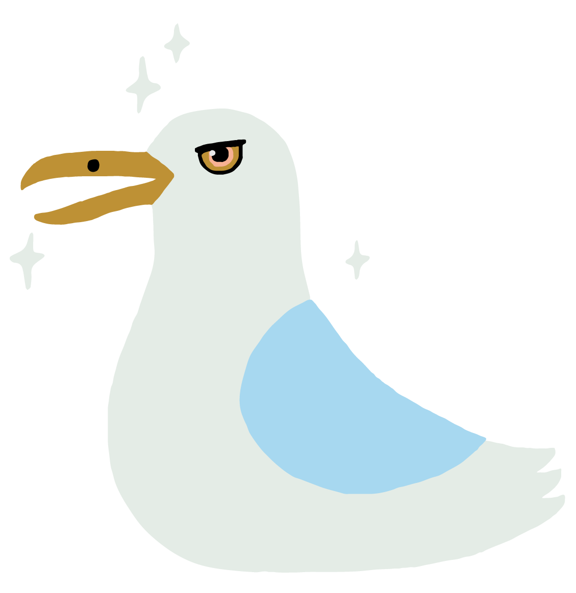 An illustrated image of a seagull