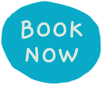 An illustrated blue circle containing the words Book Now
