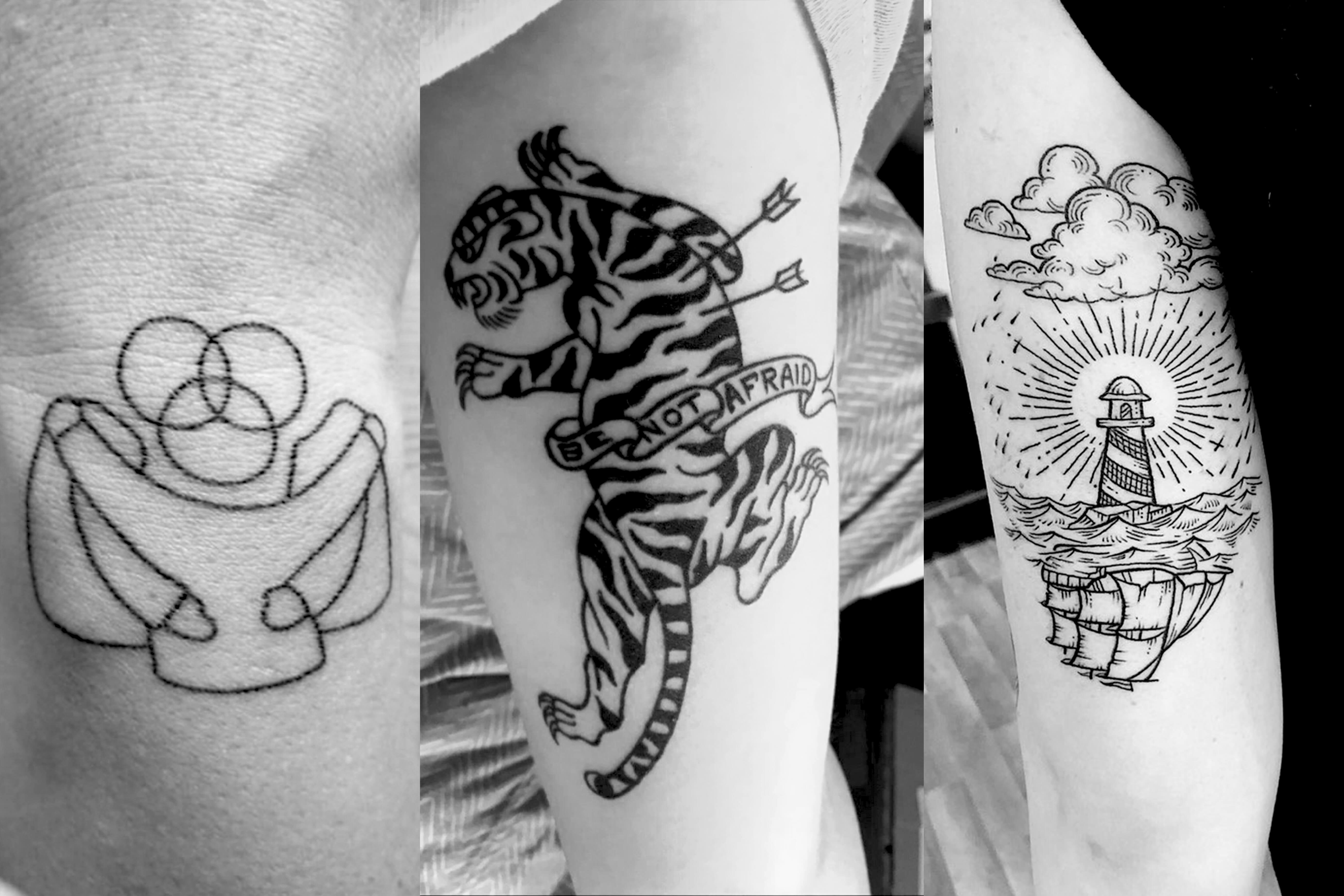 Three images of tattoos inspired by Scott Erickson Art.