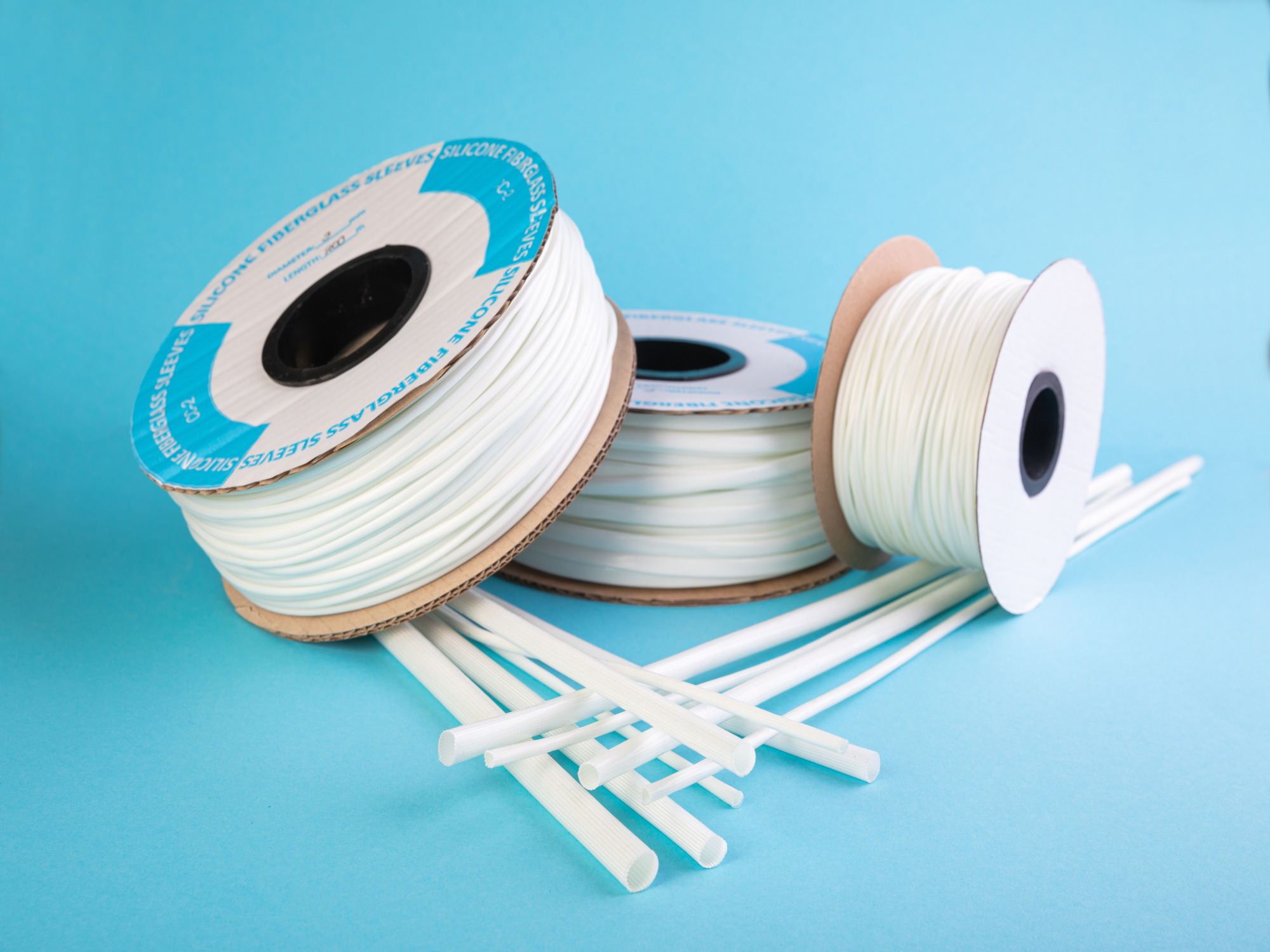 several rolls of silicone fiberglass sleeves