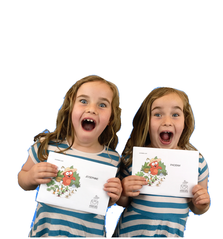 Our twins excited for Envelopes!