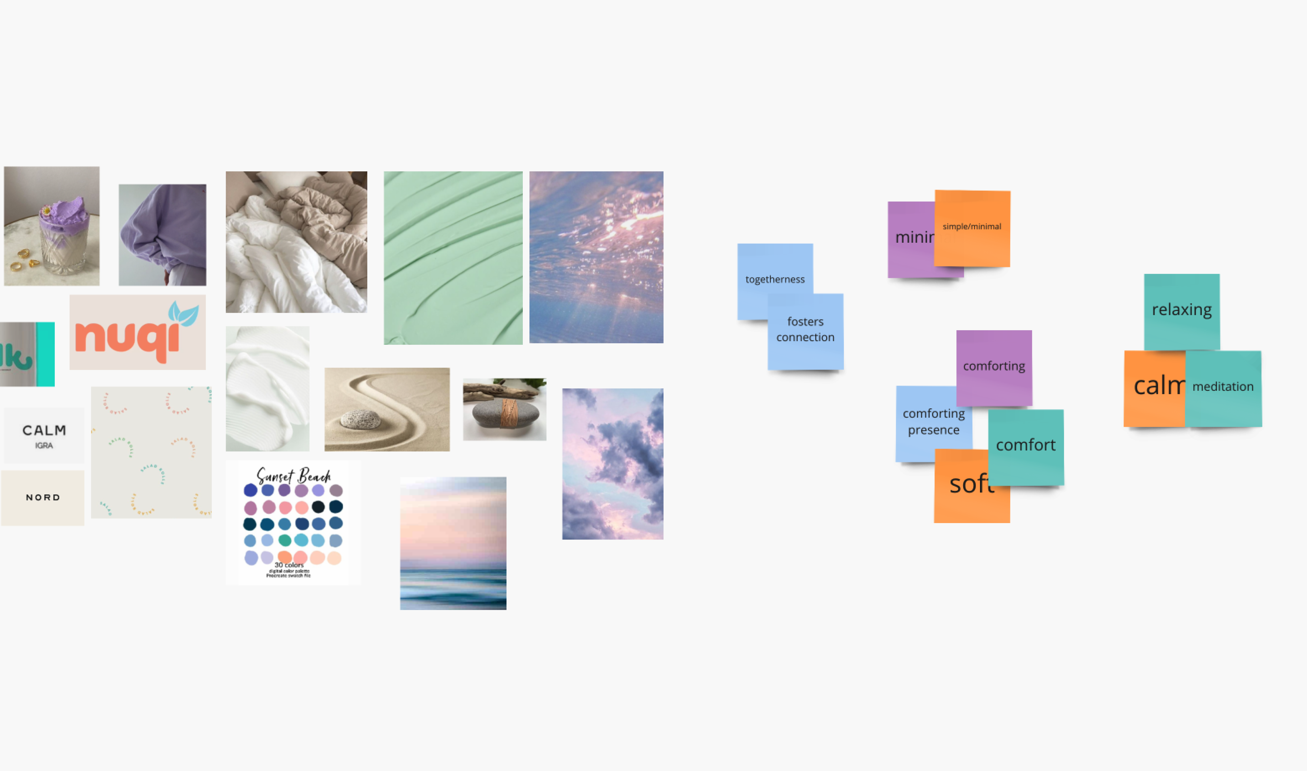 (Left) Moodboard featuring purples, greens, pinks and images that elicit comfort. (Right) Sticky notes of brand values that tie into our design dimensions.