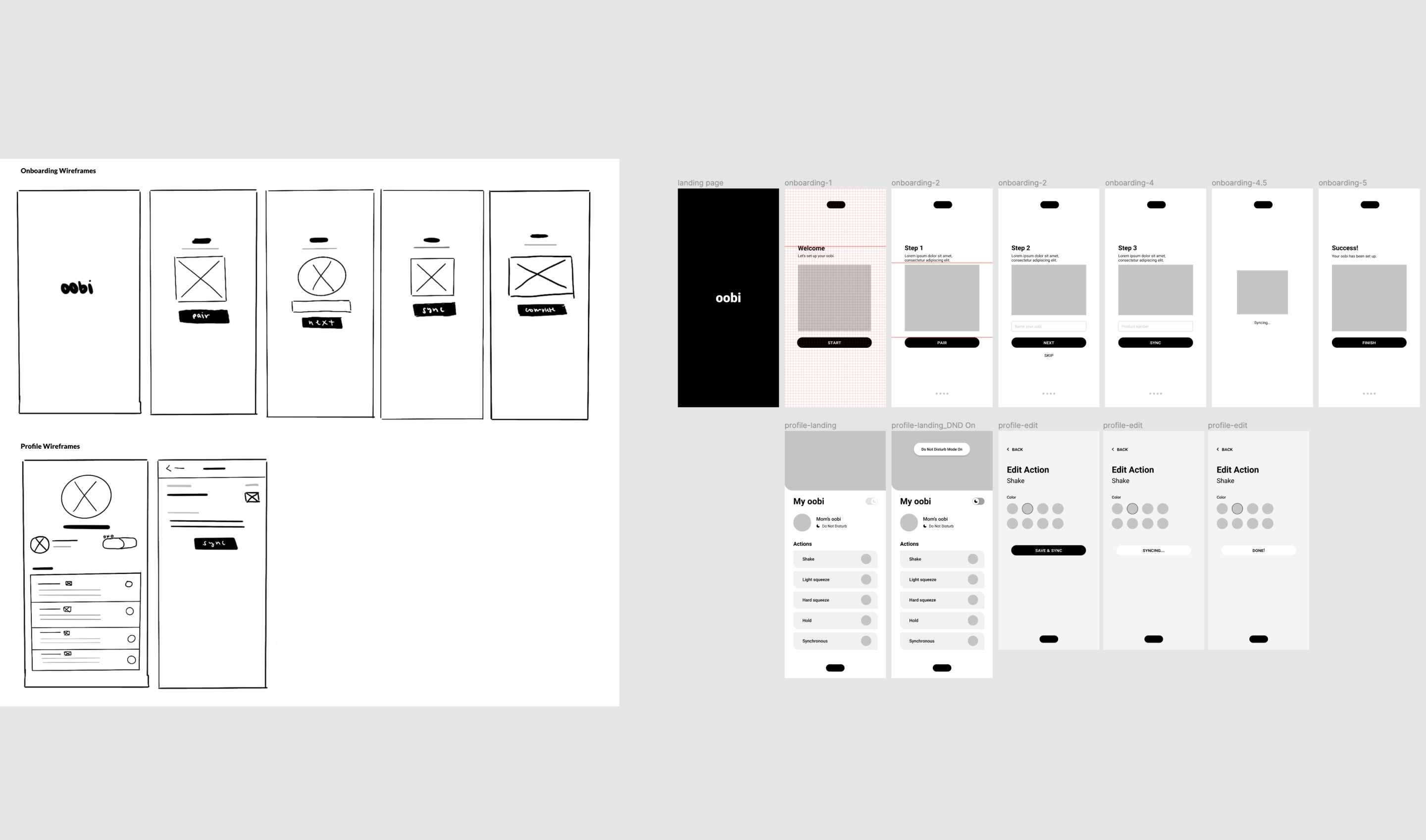 Lo-fi sketched wireframes of the Oobi onboarding and profile screens (left). Hi-fi black and white wireframes (right).