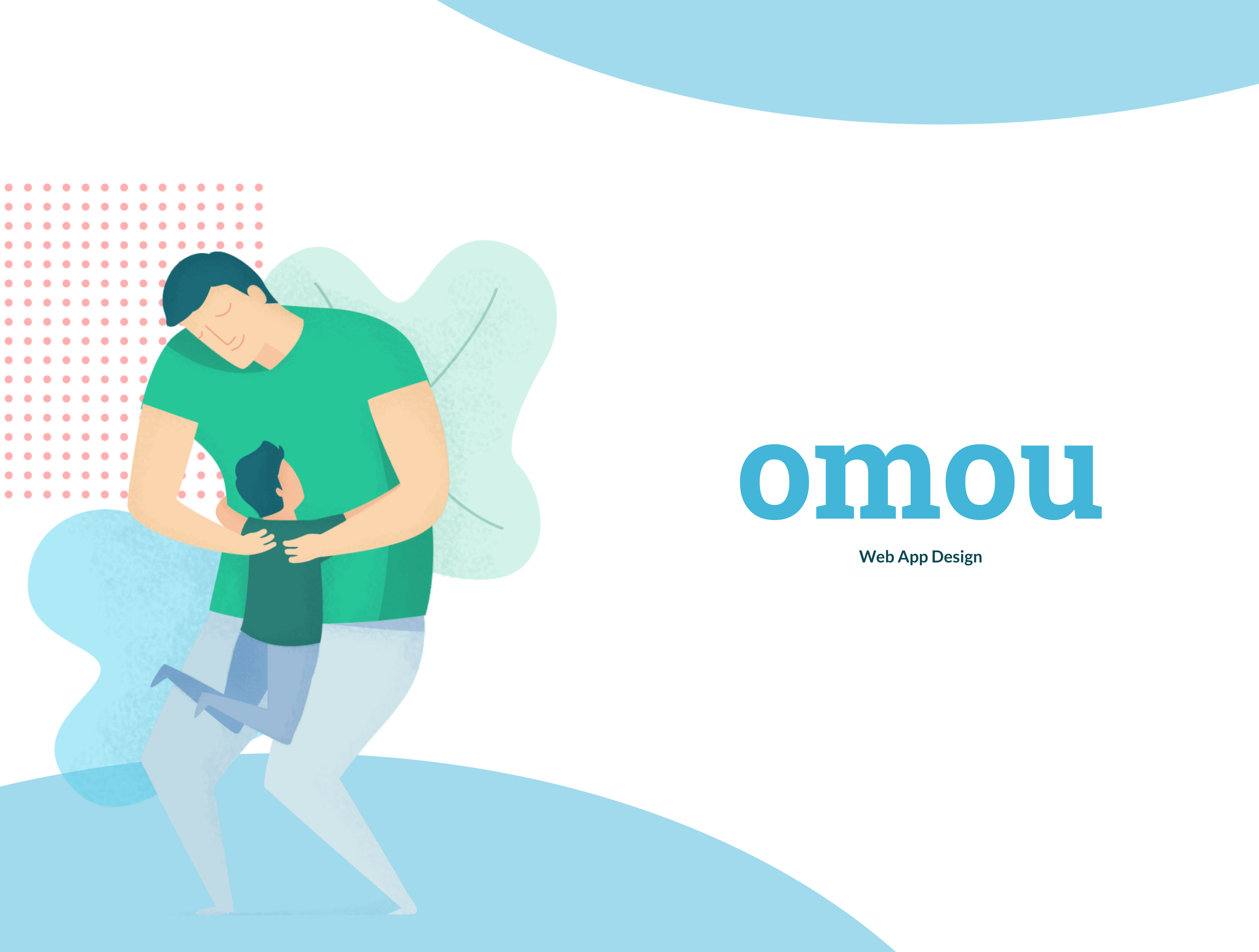 """Thumbnail for the Omou project featuring an abstract illustration of a parent embracing their child, the Omou logo and the project type """"Web App Design"""""""