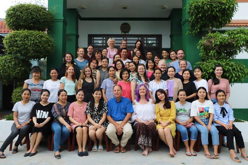 Teachers and staff at green shoots international school Hoi An Vietnam.