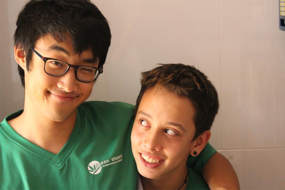 Happy secondary children at green shoots international school