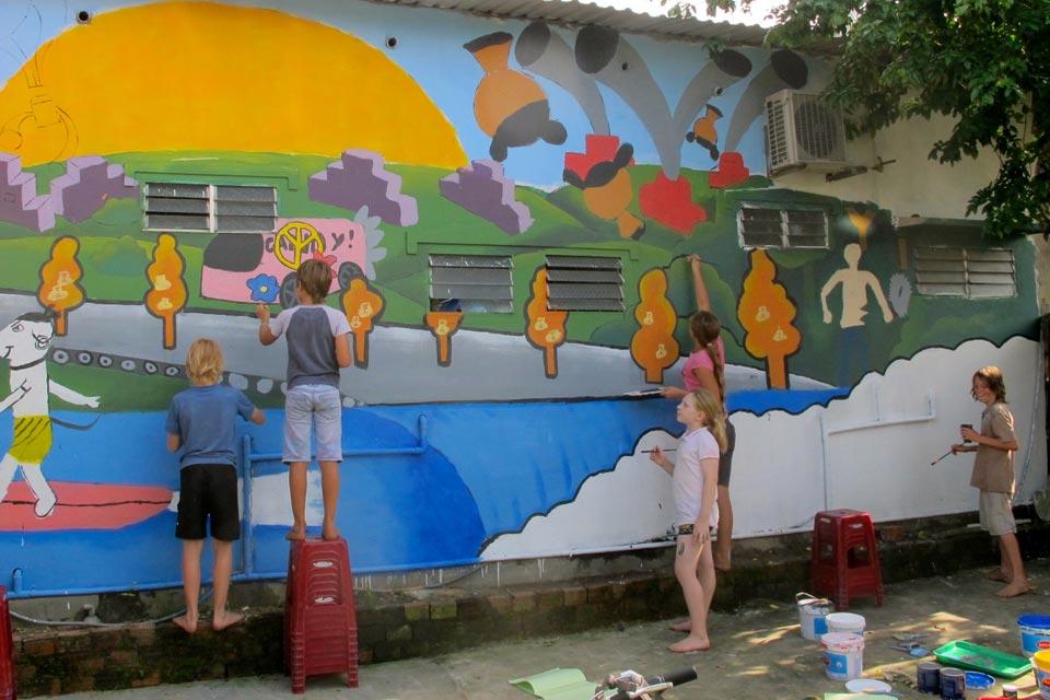 Vietnam school painting mural