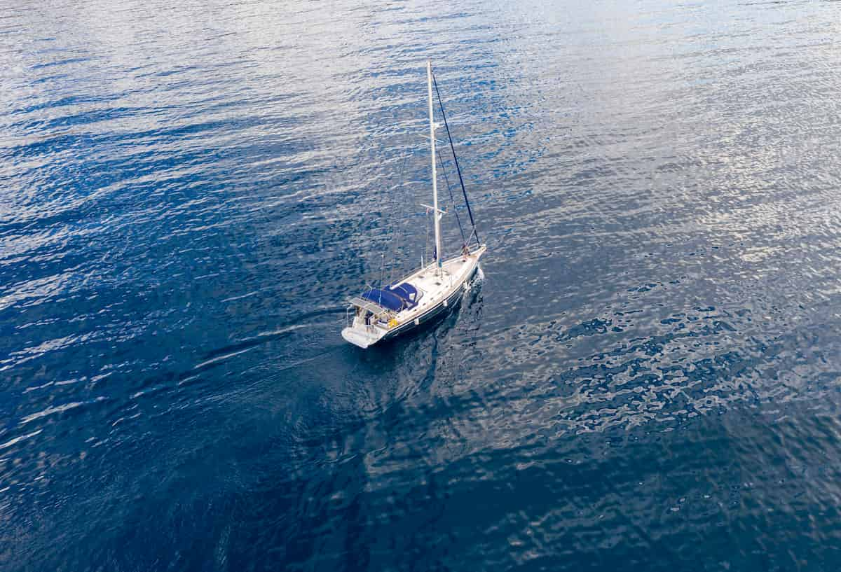 a sailing boat from above