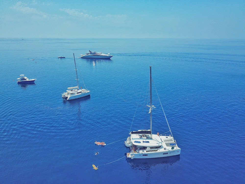 aerial view of used catamaran