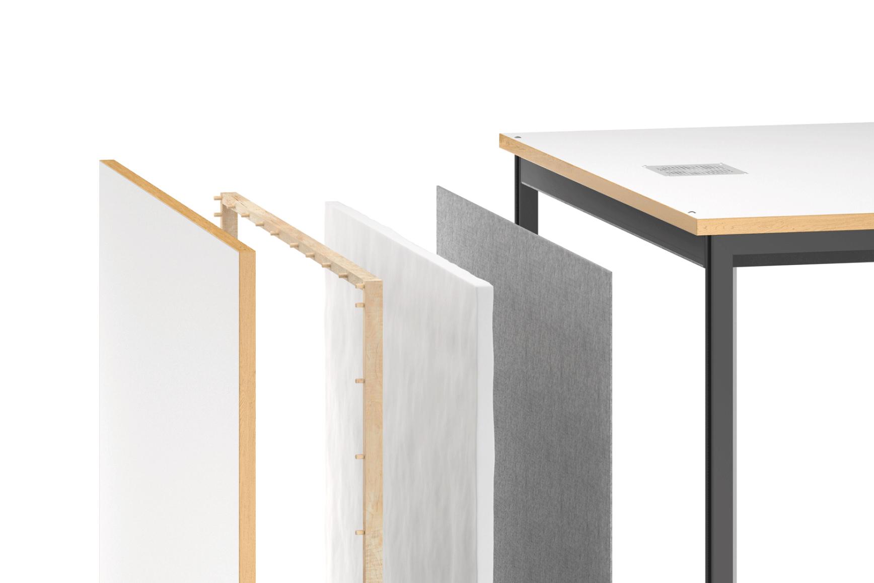 Vier schallabsorbierende Schichten der Telefonkabine: Holz, recyceltes Dämmmaterial und Akustikfilz.