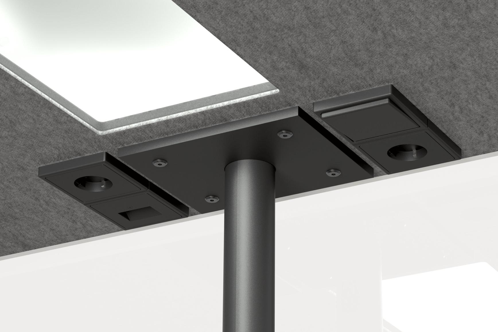 Das Innere, der in grau beschichteten Akustikfilzdecke einer Meetingbox für Büros, mit Steckdose und LED-Beleuchtung.